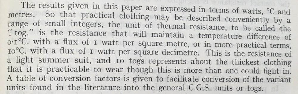 The first description of the tog.The transmission of heat through textile fabrics - part II' p.343 by F. T. Peirce and W. H. Rees Shirley Institute Memoirs, Vol XXII 1944-1945