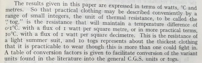 The first description of the tog. The transmission of heat through textile fabrics - part II' p.343 by F. T. Peirce and W. H. Rees Shirley Institute Memoirs, Vol XXII 1944-1945