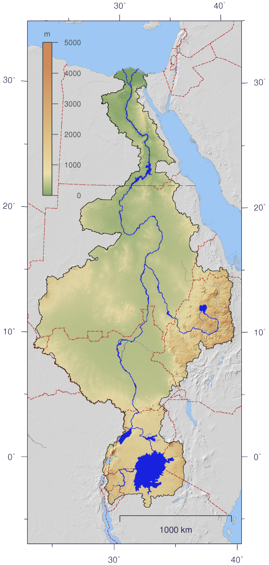 This is a map of the Nile and its drainage basin (https://upload.wikimedia.org/wikipedia/commons/2/2b/Nile_watershed_topo.png